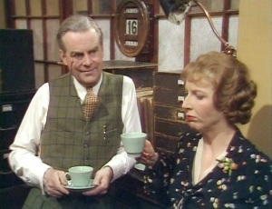 Ian Carmichael as Peter Wimsey and Fiona Walker as Miss Meteyard